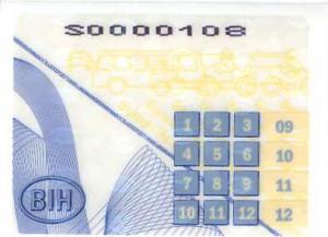Registarske tablice u Bosni i Hercegovini - Unutarnji stiker
