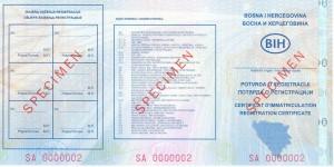 Potvrda o registraciji vozila - prednja strana