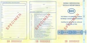Potvrda o vlasništvu vozila - prednja strana